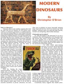 Modern Dinosaurs Article